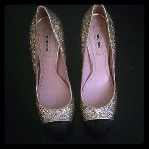 Miu miu heels (gold glitter & black pony hair)